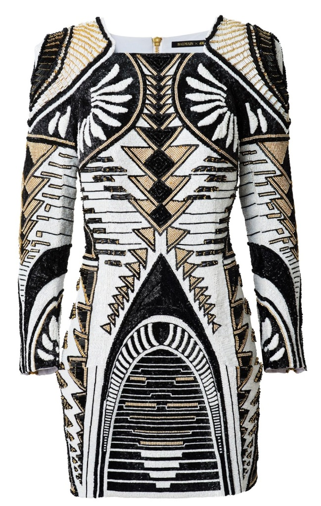 Balmain-x-HM-Beaded-Dress-Women-Black-and-White