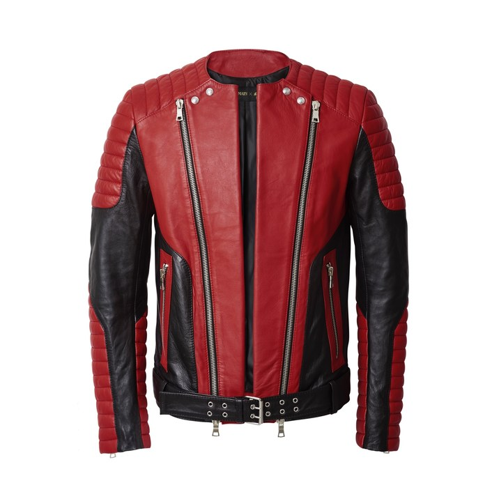 Balmain-x-HM-Leather-Red-Jacket-Men