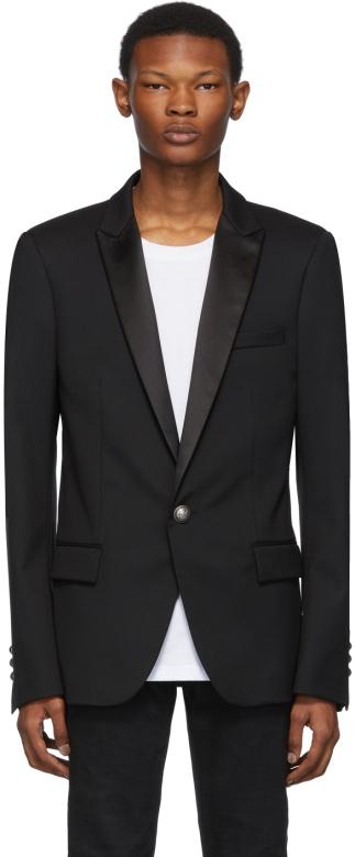 balmain-black-satin-collar-blazer